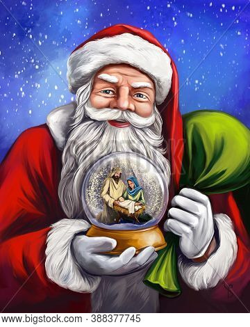 Christmas Story. Santa Claus Is Holding A Christmas Snowglobe, Christmas Night, Mary, Joseph And The