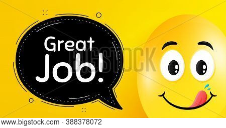 Great Job Symbol. Easter Egg With Yummy Smile Face. Recruitment Agency Sign. Hire Employees. Easter