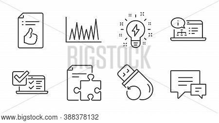 Flash Memory, Line Graph And Online Documentation Line Icons Set. Online Survey, Inspiration And Str