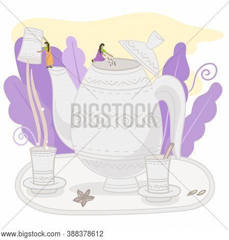 Concept Of Masala Tea.india Tiny People Working On A Big Pot Of Milk Tea. Flat Vector Illustration.