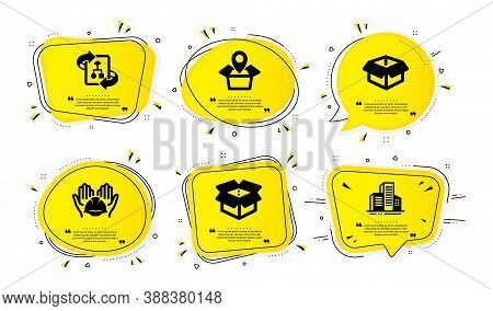 Package Location, Builders Union And Opened Box Icons Simple Set. Yellow Speech Bubbles With Dotwork