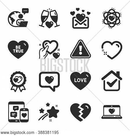Set Of Love Icons, Such As Love, Heart, Wedding Glasses Symbols. Love Message, Social Media, Break U