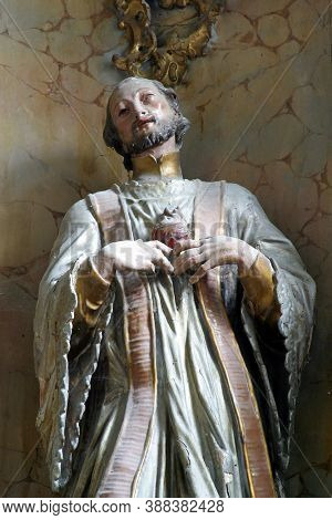 PREPOLNO, CROATIA - JULY 01, 2013: Saint Ignatius, a statue on the high altar at Our Lady of Sorrows Chapel in Prepolno, Croatia