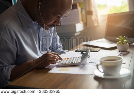 Business And Financial Planning Concept. Financial Advisor Planning And Calculate Budget, Work On La