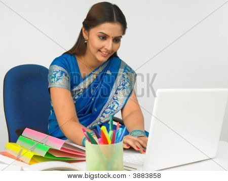 Business Executive Working On Her Laptop