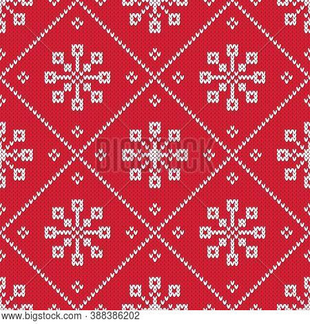 Winter Holiday Knitted Diamond Pattern. Red Nd White Seamless Vector Pattern With Knitted Texture. C