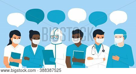 Team Of Doctors And Nurses Communication, Talks, Discussions, Dialog. Man And Woman Medical Staff. M