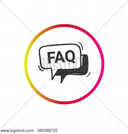 Faq Icon. Frequently Asked Questions. Help Information Sign. Social Media Marketing And Web Shop Int