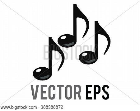 Vector Black Three Eighth Notes Music Note Icon, Represent Music Or Singing