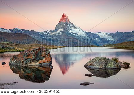 Matterhorn, Swiss Alps. Landscape Image Of Swiss Alps With Stellisee And Matterhorn In The Backgroun