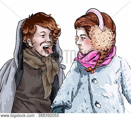Little Boy And Girl Posing And Playing Together. Kids Dressed In Warm Clothes Like Overcoats And Sca