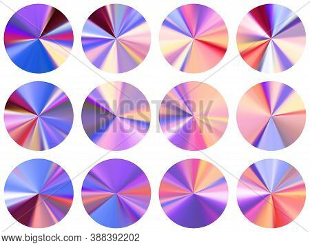 Radial Metallic Gradient Ux Button Elements Vector Set. Polished Multicolor Swatches. Button Metal G