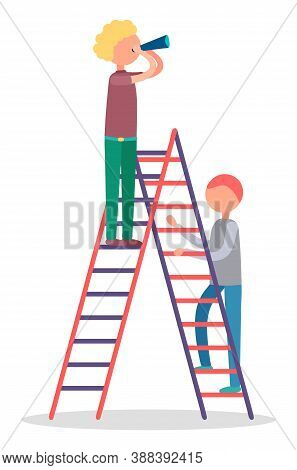 Two Men Standing On Stepladder. Adult Male Watching Or Observing Something Through Hand Telescope. P