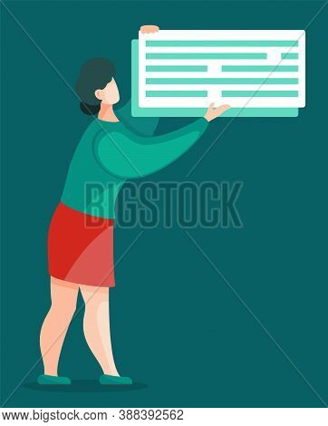 Chat Blog In Hands Of Woman, Effective Time Management And Planning. Vector Illustration Lady With D