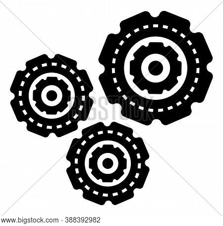 Setting Engineering Symbol In Black Color Factory Construction Element. Cogwheel Manufacturing Objec
