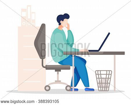 Vector Flat Illustration Of Business Person Sitting At The Table In The Office And Working. Business