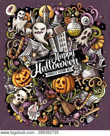 Cartoon Vector Doodles Happy Halloween Illustration. Colorful, Detailed, With Lots Of Objects Backgr