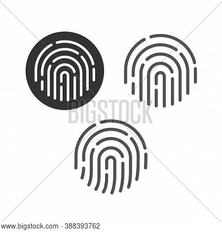 Fingerprint Security Button Icon Set Vector, Touch Finger Thumb Print Id Symbol For Biometric Thumbp