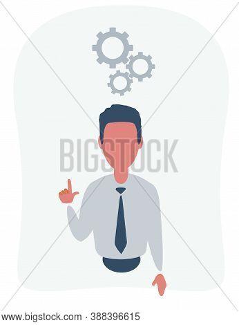 Human Head Creating A New Idea. Man And Cogwheels Overhead. Idea Generation. Creating Business Idea.