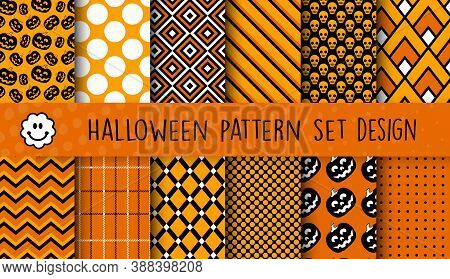 A Set Of Halloween Patterns For Business, Scrapbook, Decoration