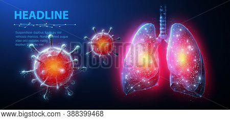 Virus In Lung. Abstract Vector 3d Corona Microbe On Lung Background. Pneumonia Virus, Covid Illnes,
