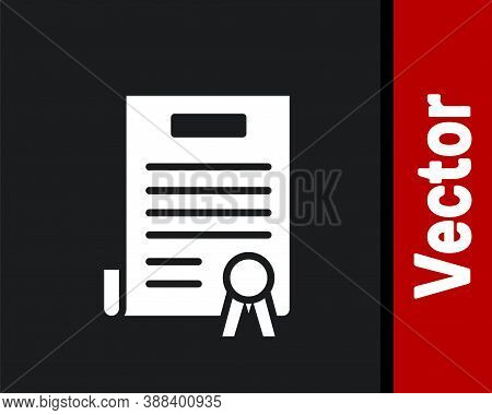 White Declaration Of Independence Icon Isolated On Black Background. Vector Illustration