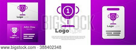Logotype Award Cup Icon Isolated On White Background. Winner Trophy Symbol. Championship Or Competit