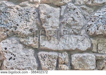 Cobblestone Retro Wall Background, Surface Texture Of Large Stones, Background