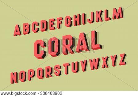 Coral Alphabet Of Volumetric Letters. 3d Retro Font.
