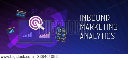 Inbound Marketing Analytics Concept. Advertisement Strategy With Target, Chart And Graph Icons. Lead