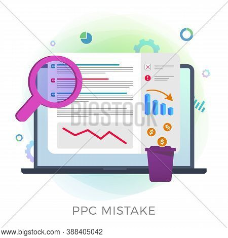 Pay Per Click Mistake Flat Vector Icon. Ppc Digital Marketing Campaign Errors And Mistakes Concept.