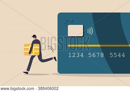 Credit Card Or Debit Card Payment Account Fraud, Hacker Or Criminal Use Phishing To Steal Online Mon