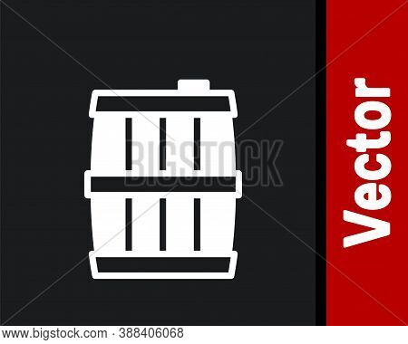 White Wooden Barrel Icon Isolated On Black Background. Alcohol Barrel, Drink Container, Wooden Keg F