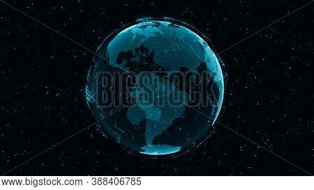 3d Digital Earth Shows Concept Of Global Network Connection Of International People In Global Busine