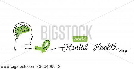 World Mental Health Day Minimalist Line Art Border, Web Banner, Simple Vector Background With Brains