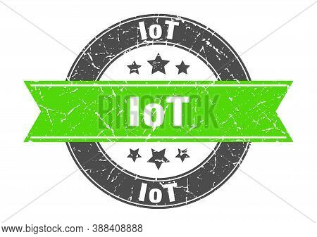 Iot Round Stamp With Ribbon. Label Sign