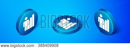 Isometric Productive Human Icon Isolated On Blue Background. Idea Work, Success, Productivity, Visio