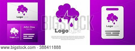 Logotype Cloud With Rain And Lightning Icon Isolated On White Background. Rain Cloud Precipitation W