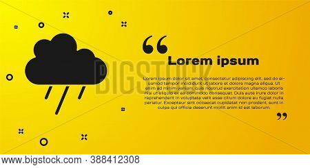 Black Cloud With Rain Icon Isolated On Yellow Background. Rain Cloud Precipitation With Rain Drops.