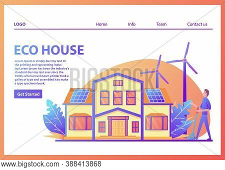 Landing Page Template.green Energy Eco Friendly Suburban American House.family Home Facade.flat Vect