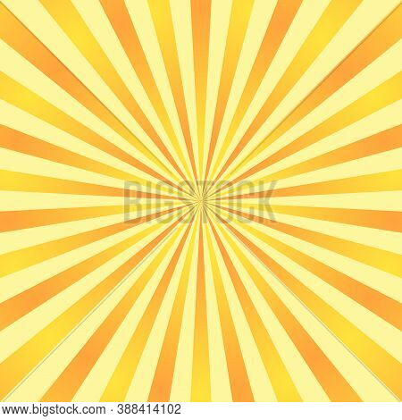 Sun Rays Background. Orange Yellow Radiate Sun Beam Burst Effect. Sunbeam Light Flash Boom. Starburs