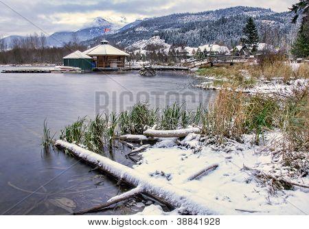 Lake With Snow Along Shore