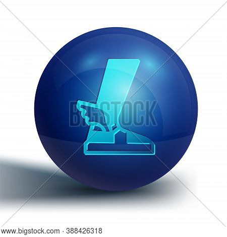 Blue Hermes Sandal Icon Isolated On White Background. Ancient Greek God Hermes. Running Shoe With Wi