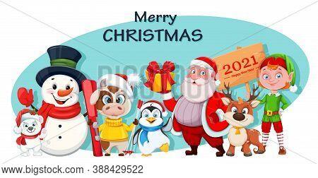 Merry Christmas And Happy New Year Greeting Card. Cute Polar Bear, Snowman, Bull, Penguin, Santa Cla
