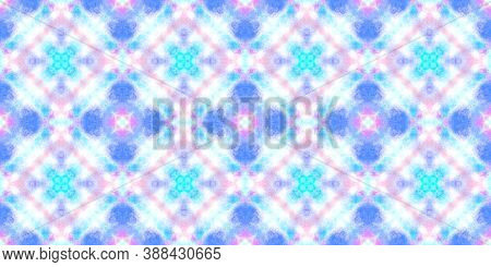 Seamless Aquarelle Pattern. Watercolor Artistic Tile Design. Blue, Pink And White. Abstract Aquarell