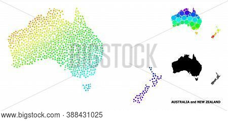 Wire Frame Polygonal And Solid Map Of Australia And New Zealand. Vector Structure Is Created From Ma