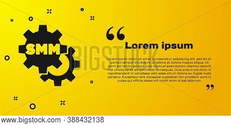 Black Smm Icon Isolated On Yellow Background. Social Media Marketing, Analysis, Advertising Strategy
