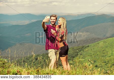 Couple Taking Photo. Summer Vacation Concept. Young Adventurers. Travel Together With Darling. Coupl