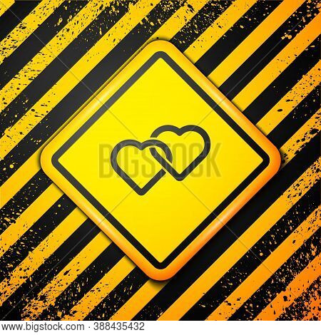 Black Two Linked Hearts Icon Isolated On Yellow Background. Romantic Symbol Linked, Join, Passion An