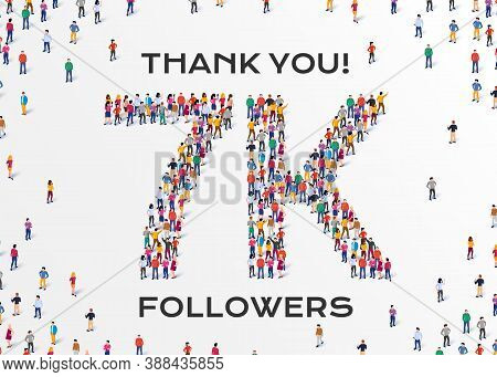 7k Followers. Group Of Business People Are Gathered Together In The Shape Of 7000 Word, For Web Page